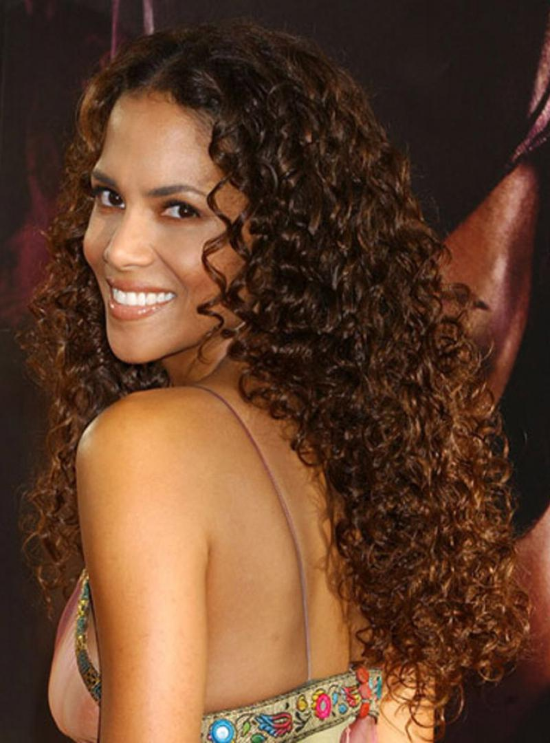 Stock Halle Berry Curly Human Hair Full Lace Wig Curly