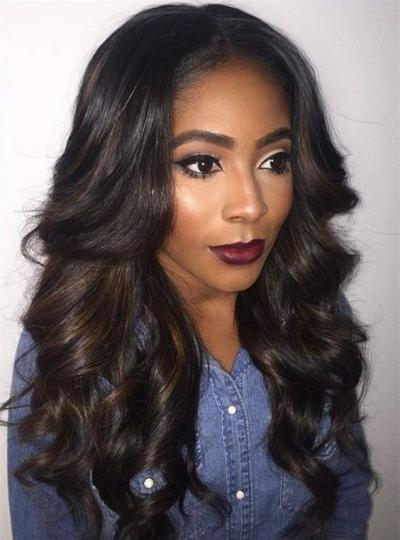 Stock Wavy Full Lace Human Hair Wig With Highlight - WST028 fdc82d649