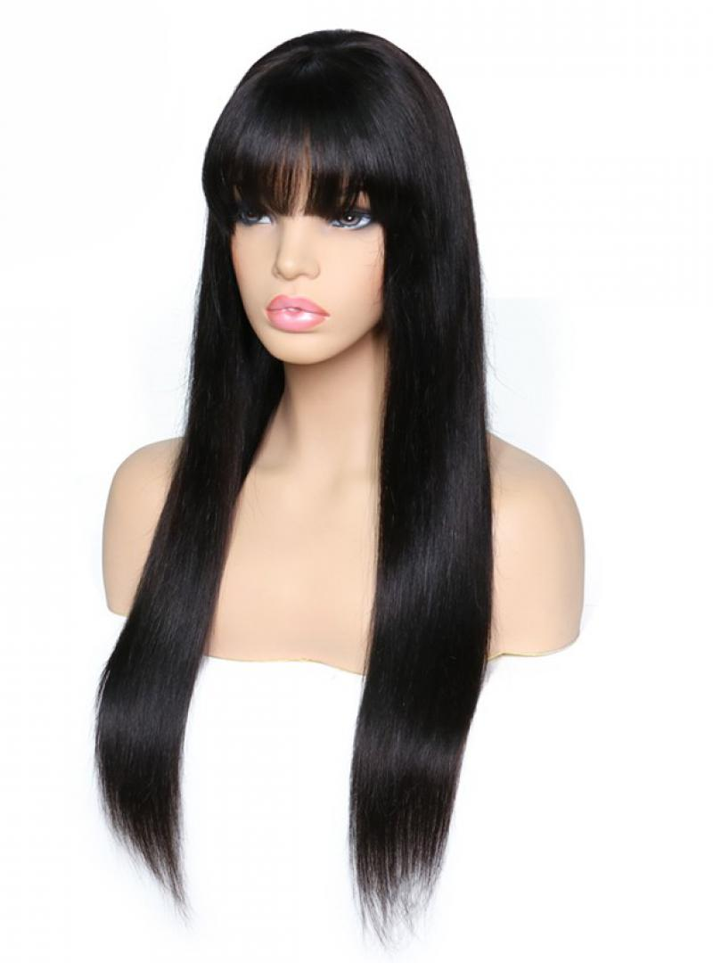 Stock Long Straight Human Hair Full Lace Wig With Bang-Straight-SC037